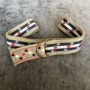 Multicolored D-Ring Belt Polka Dots Tan Red Blue